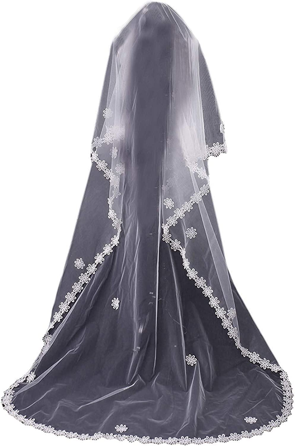 Fenghauvip 2 Tier bluesher Wedding Veil Lace Edge Cathedral Length Veil for Brides