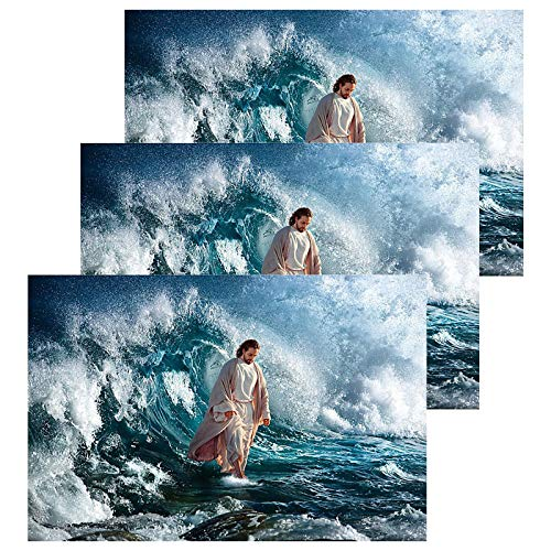 Walks On Water Jesus Posters Bible and Cross of Jesus Wall Art Christ Poster God Canvas Prints Home Decor for Bedroom Living Room Pictures Decals HD Printed Painting Artwork Framed Ready to Hang