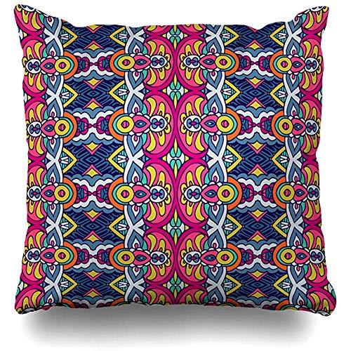 Suo Long Federa per Cuscino Art African Etnic Tribal Festive Pattern Astratto Arabesque Colore Doodle Fioritura Folkloric Federa