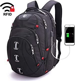 Swiss Business Travel Laptop Backpack-Laptops Backpack with USB Charging Port Smart Bag with RFID for Man & Woman School Computer Bags Fits 15.6 Inch Laptop and Notebook, Black