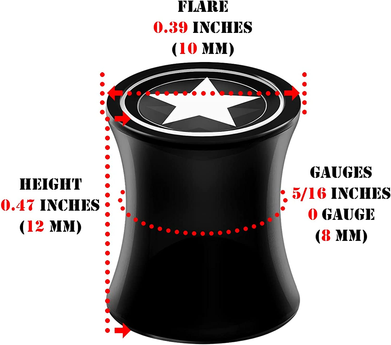 BIG GAUGES Pair of Black Acrylic Star Logo Double Flared Saddle Piercing Jewelry Stretcher Earring Ear Lobe Flesh Plugs