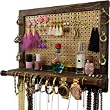 Large Wall Mounted Rustic Jewelry Organizer | Premium Decorative Mesh &Grooved Shelf Rack | Wall Hanging Jewelry Organizers | Best Christmas, Birthday Gifts Ideas for Her ( Wife, Girlfriend, Mom )