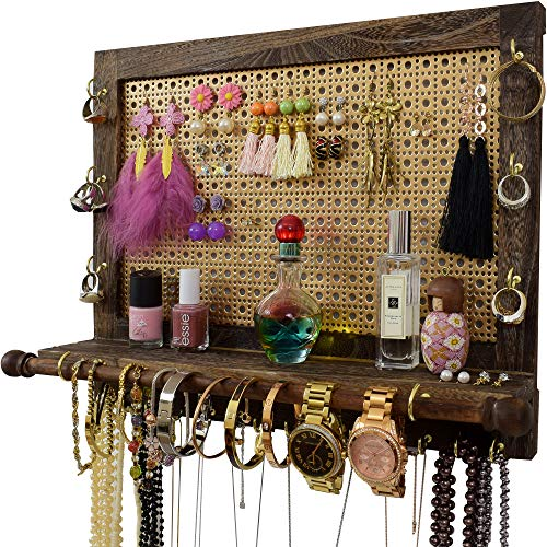 Large Wall Mounted Rustic Jewelry Organizer  Premium Decorative MeshGrooved Shelf Rack  Wall Hanging Jewelry Organizers  Best Christmas Birthday Gifts Ideas for Her  Wife Girlfriend Mom