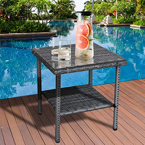 Valita PE Wicker Side Table Outdoor Resin Rattan Glass Top Square End Table with Two Shelves, Gray, Grey