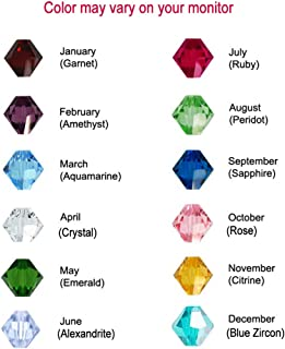 144pcs Bicone Swarovski #5328 / 5301 Crystal Beads Birthstone Assorted 12 Colors of each Month - Made in Austria (5328 / 5301 4mm)