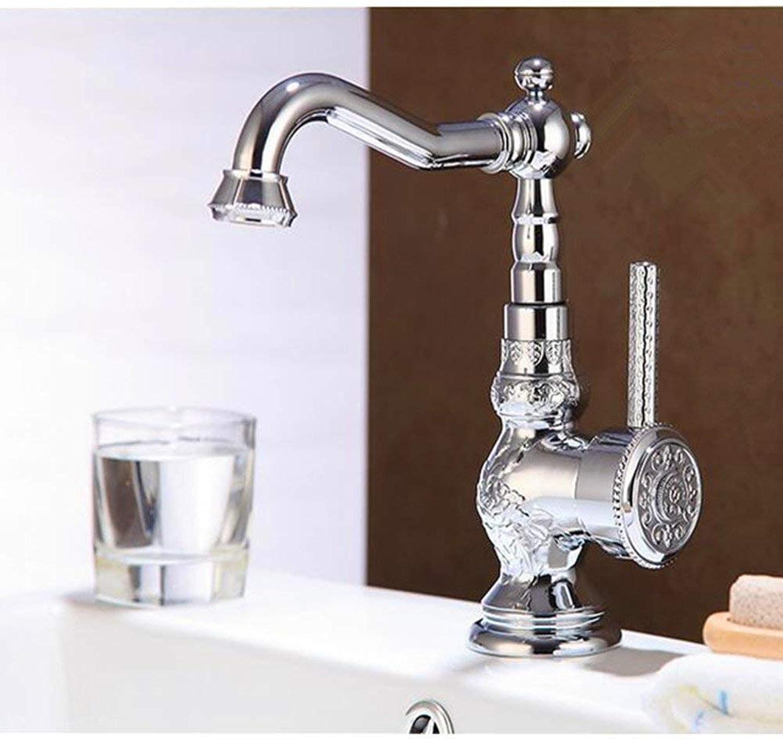 Wasserhahn Retro Waschbecken Warm und Kalt Kupfer Toiletten Küche Zhler Antikes Becken Reines Kupfer, Messing (Farbe   Silber)