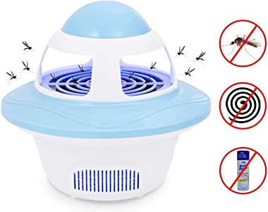Bug Zapper, Electronic Indoor Mosquito Killer Lamp, Insect Killer Lamp, Safe USB Powered Mosquito Zapper LED Lamp with Built in Fan Mosquito Catcher Trap for Home Kitchen Bedroom Patio Yard Office