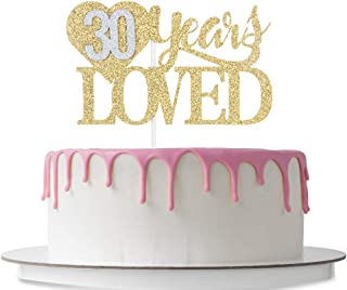 30 Years Loved Cake Topper with Loving Heart, Happy 30th Birthday, 30th Wedding Anniversary Party Decoration Supplies, Cheers to 30 Years, 30 Years Blessed, Double Color Gold and Silver Glitter
