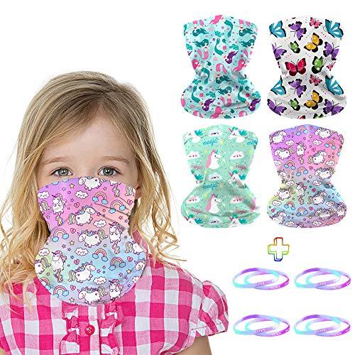 4Pcs Kids Face Mask Neck Gaiter, Reusable Face Gators Scarf Balaclava Bandana for 3-6 Years Girls Birthday Gifts with 8Pcs Rubber Bracelets