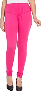 American-Elm Women's Pink Solid Stretchable Cotton Lycra Churidar Leggings/Yoga Pants