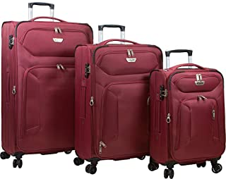 Dejuno Cirrus Lightweight Nylon 3-piece Spinner Luggage Set, Maroon