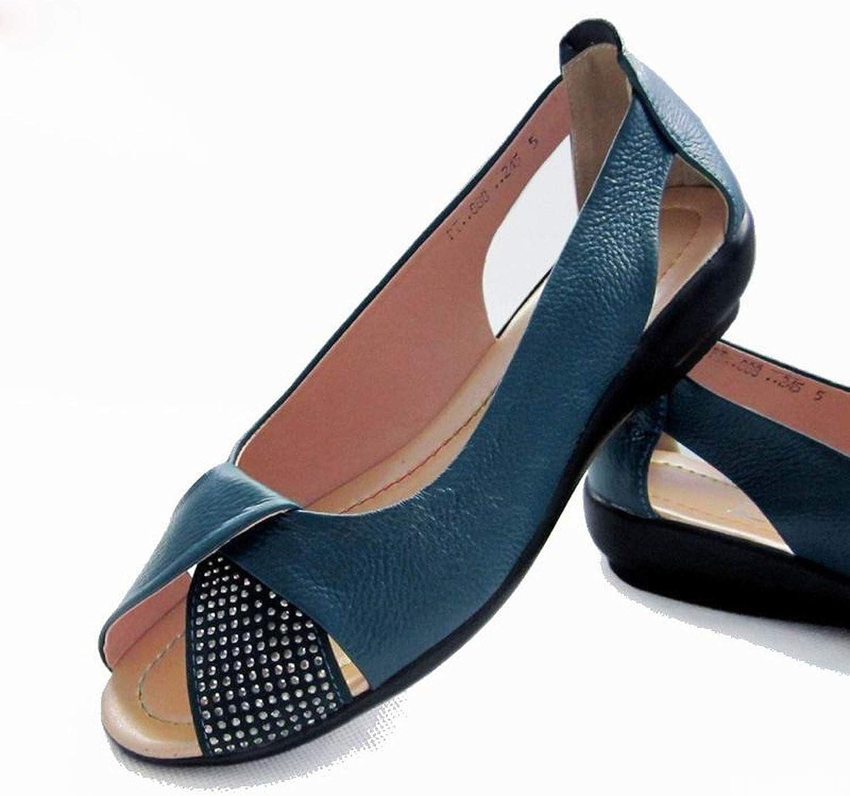 Jamais-Vu 2019 Summer Women's shoes Genuine Leather Sandals Casual Sandals,Cáqui,7,5