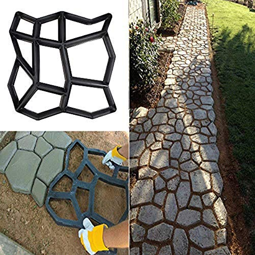 vijTIANDifine - Molde reutilizable para hormigón, ideal para pavimentar caminos, diseño en forma de piedra
