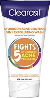 Clearasil Stubborn Acne Control 5in1 Exfoliating Wash 6.78 fl. oz., Reduces Blocked Pores, Pimple Size, Excess Oil, Acne Marks, Blackheads