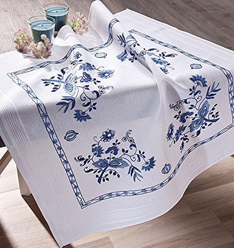 Kamaca - Kit de Punto de Cruz para Mantel de Punto de Cruz (80 x 80 cm, 100% algodón), diseño de Flores, Color Azul