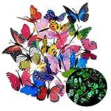 20Pcs Papillons de Jardin déco Lumineux, 3D Papillons colorés de...