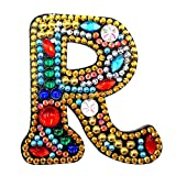 Kits de llavero de diamante DIY con letra R, llaveros de pintura de diamantes, mosaico 5D, taladro completo, llavero de diamante, arte artesanal