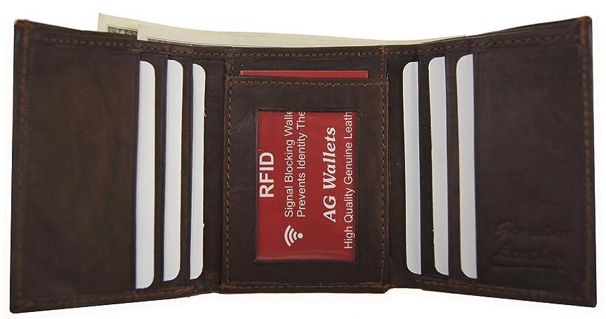 浸漬スクレーパー偏見メンズ三つ折り本革RFID信号ブロックスキャンProof財布ブラウン