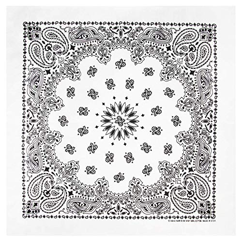 100% Cotton Western Paisley Bandanas (22 inch x 22 inch) Made in USA - White Single Piece 22x22 - Use For Handkerchief, Headband, Cowboy Party, Wristband, Head Scarf - Double Sided Print