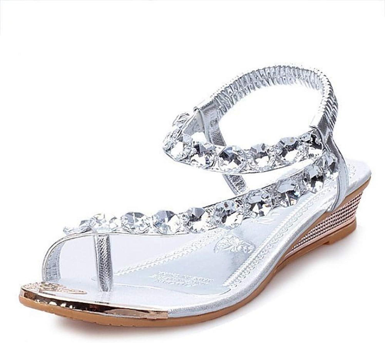IWlxz Women's PU(Polyurethane) Summer Comfort Sandals Flat Heel Crystal Silver golden
