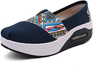 Unparalleled beauty Womens Platform Walking Shoes Comfortable Slip On Loafers Canvas Wedge Sock Shoes