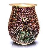 Foromans Handcrafted Glass Scented Oil Burner Wax Melts Warmer 3D Firework Design Fragrance Candle Warmer for Décor