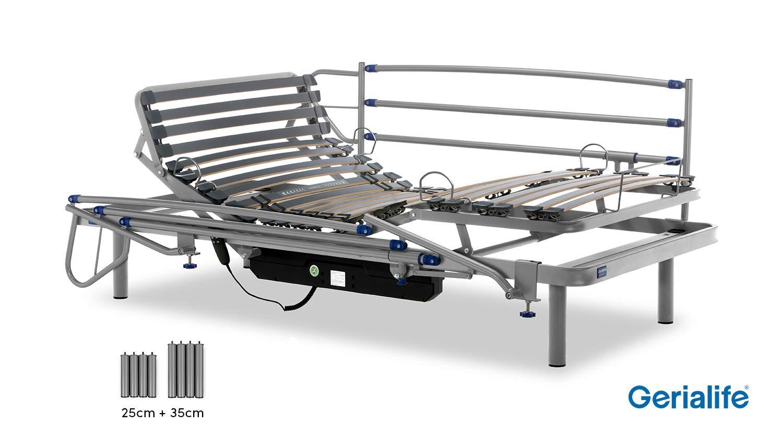105x190, Plateado Gerialife/® Cama Articulada El/éctrica Reforzada Patas Extra de 35 cm.
