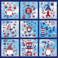 143-Pieces 4th of July Gnome Window Clings Decor