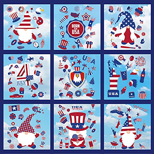 143 PCS 4th of July Gnome Window Clings Decor - 9 Sheets Static Patriotic Memorial Day Window Decals, Independence Day Window Stickers Decorations for Glass Windows Home School Office Party Supplies