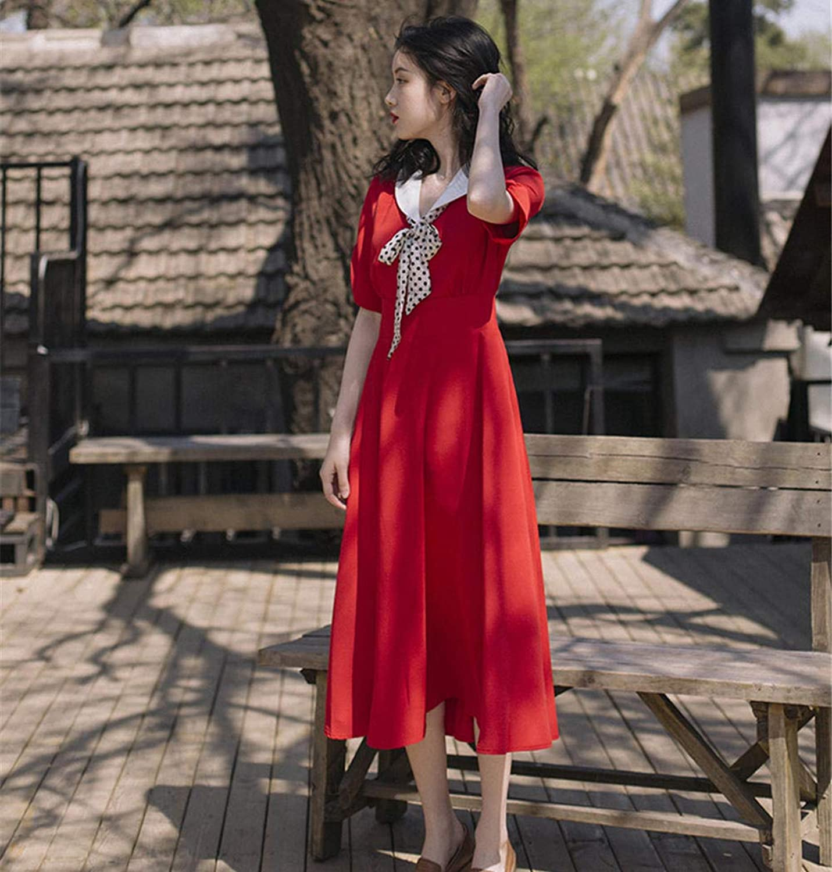 Summer Ladies Dress Retro Girl Temperament high Waist Slim Slimming Dress