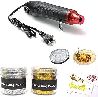 Embossing Starter Kit, 50ml Gold Embossing Powder and 50ml Silver Powder + Embossing Heat Gun.