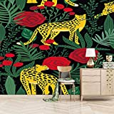 Fotomural Vinilo Pared 200X150cm Leopardo Amarillo Papel Pintado Tejido No Tejido Decoración De Pared Decorativos Murales Moderna De Diseno Fotográfico