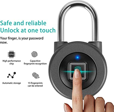 Fingerprint Padlock,AICase Bluetooth Thumbprint Lock,Support USB Charging IP67 Waterproof Smart Anti-Theft Keyless Lock Suita