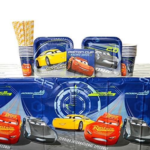 Disney Cars Party Supplies Pack for 16 Guests - Straws, Dessert Plates, Beverage Napkins, Cups, and Table Cover