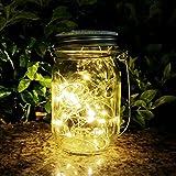 Mason Jar Sun Tarro Cristal,AGPTEK Lámpara LED Solar Luz con 20 Luces LED Impermeable Blanca Cálida para Terraza, Jardín, Patio Exterior Interior