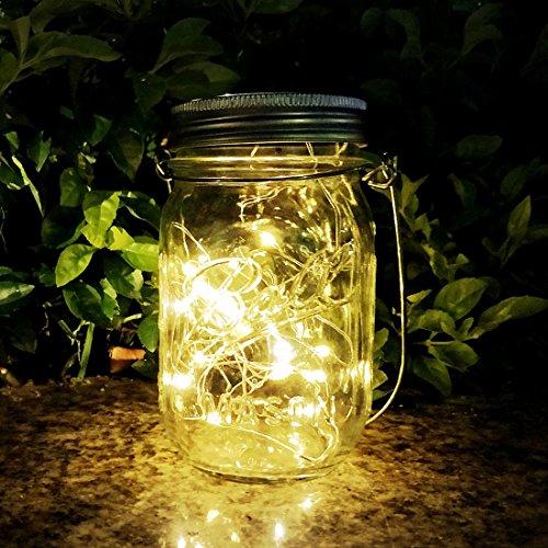 Mason Jar Sun Tarro Cristal, AGPTEK Lámpara LED Solar Luz con 20 Luces LED Impermeable Blanca Cálida para Terraza, Jardín, Patio, A++