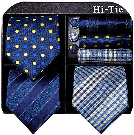 Hi Tie 3 Pcs Mens Ties Set in Gift Box Silk Blue Neckties with Pocket Square and Cufflinks product image