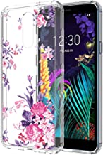LG Aristo 4 Plus case,LG Prime 2/Tribute Royal/Escape Plus/Arena 2/Journey LTE/LG K30 2019 case,PUSHIMEI Crystal Clear with Floral Flower Pattern Phone Case Cover for LG Aristo 4+(Peony Flower)