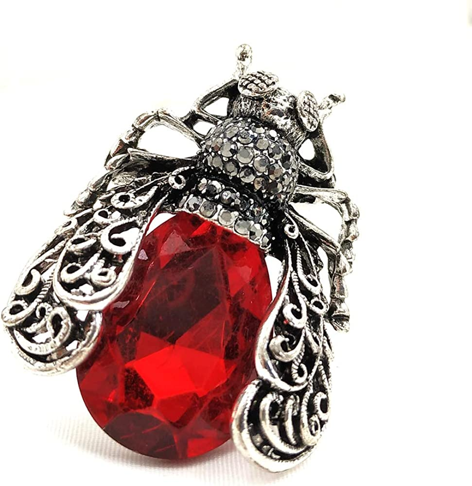 DREAMLANDSALES Vintage online shop Silver Direct stock discount Tone Scroll Winged Red St Filigree