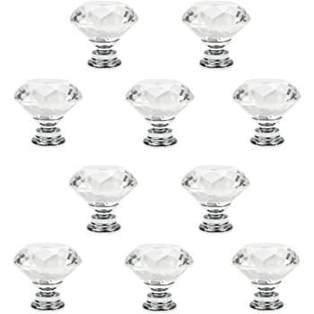 F3W5 Black Crystal Glass Cabinet Drawer Door Knobs Handles 30mm B9A7