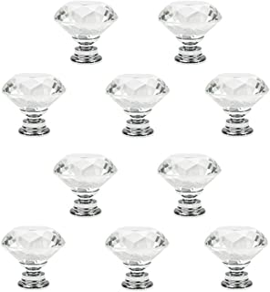 Crystal Glass Cabinet Knobs, PAPRMA 10 Pcs 30mm Diamond Shape Pulls Handles for Drawer Kitchen Cabinets Dresser Cupboard Wardrobe, Clear