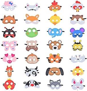 28 Piezas Fiesta Máscaras para Niños, Fieltro Máscaras para Animal Cosplay Fiesta Ojo Máscaras con Cuerda Elástica para Niños Fiesta Mascarada Decoración