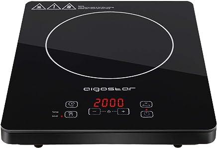 Aigostar Blackfire 30IAV - Fornello a induzione 2000W, Pannello ultraslim in microcristallino