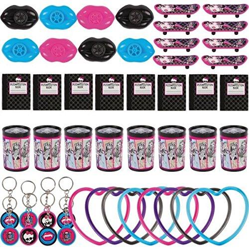 Monster High Party Set 48-delig voor 8 kinderen, 8 miniboeken, 8 prisma's gucker, 8 mini skateboards, 8 sleutelhangers, 8 armbanden en 8 lippen pijpen