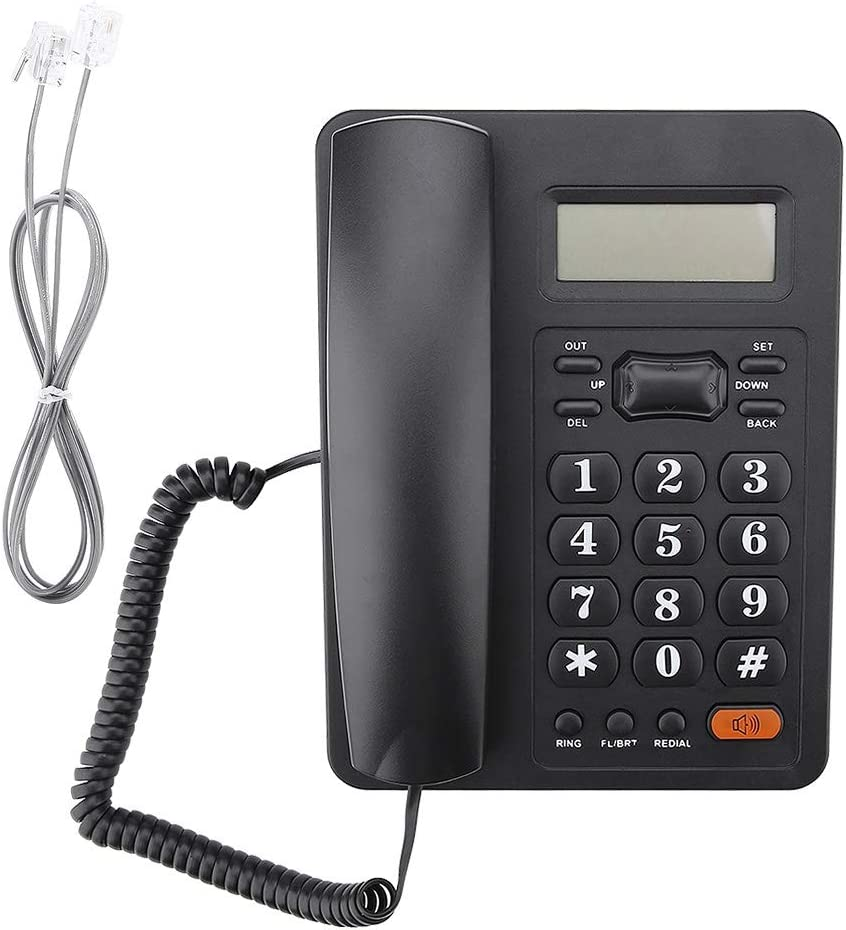 Corded Phone with Caller ID/Speakerphone Wired LCD Display Landline Telephone DTMF/FSK for Home Office Hotel, Black