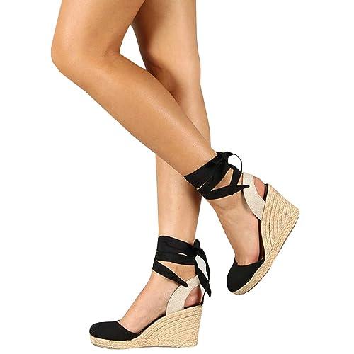 b4075d1edbea Ermonn Womens Platform Wedge Sandals Closed Toe Lace Up Ankle Strap  Espadrille Sandals