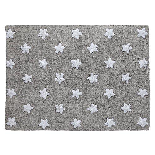 Alfombra de suelo para niño, 120x 160cm, gris, estrellas blancas
