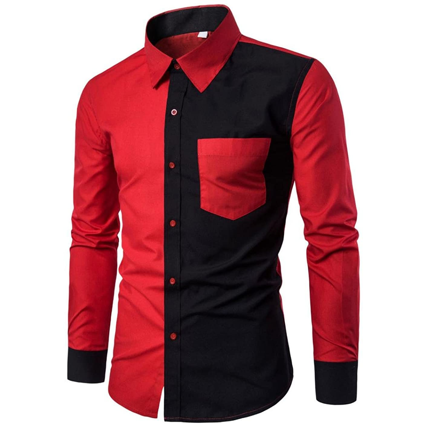 BCDshop Mens Fashion Splice Shirts Slim Fit Casual Long Sleeve Blouse Tops