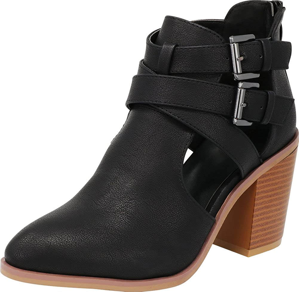 Cambridge Select Women's Strappy Buckle Side Cutout Chunky Stacked Block Heel Ankle Bootie