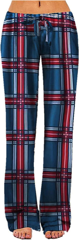 Zxvrara Women's Loose Yoga Sports Casual Pants Comfy Home Stretch Plaid Lounge Pants Wide Leg Casual Drawstring Pants